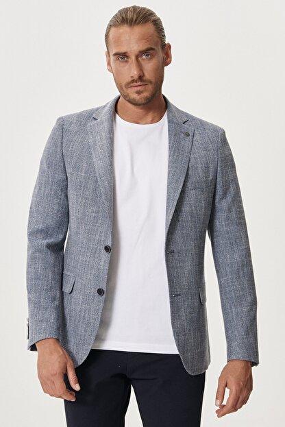 Altınyıldız Classics Erkek Mavi Slim Fit Dar Kesim Mono Yaka Desenli Casual Ceket
