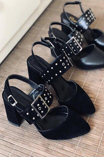 Mida Shoes Siyah Troklu Topuklu Ayakkabı