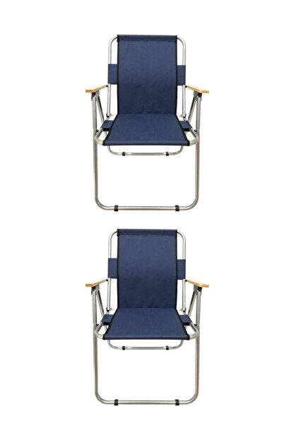 Tedarikcenter Kamp Sandalyesi 2 Adet Ahşap Kollu Katlanabilir Kamp Sandalyesi - Lacivert