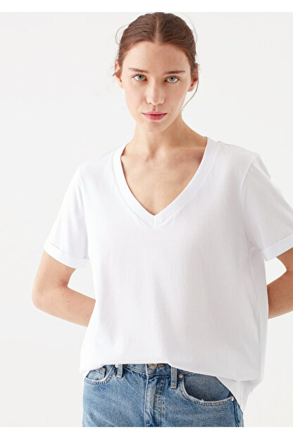 Mavi Kadın V Yaka Basic Beyaz T-Shirt