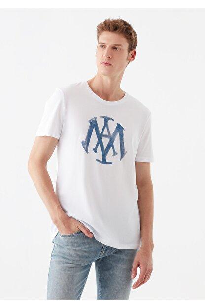 Mavi Logo Baskılı Beyaz Tişört