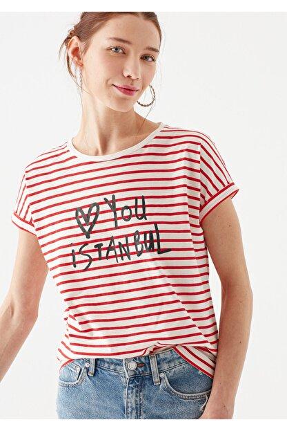 Mavi Love You Baskılı Çizgili Istanbul Tişört