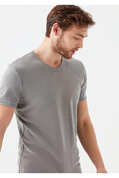 Mavi V Yaka Gri Basic Tişört