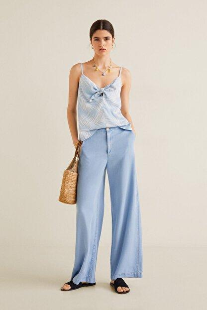 Mango Kadın Açık/Pastel Mavi Bluz 43039077