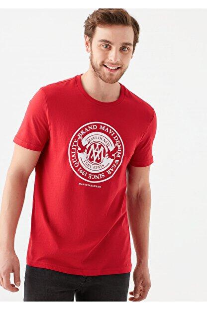 Mavi Erkek Kırmızı Logo Baskılı Tişört