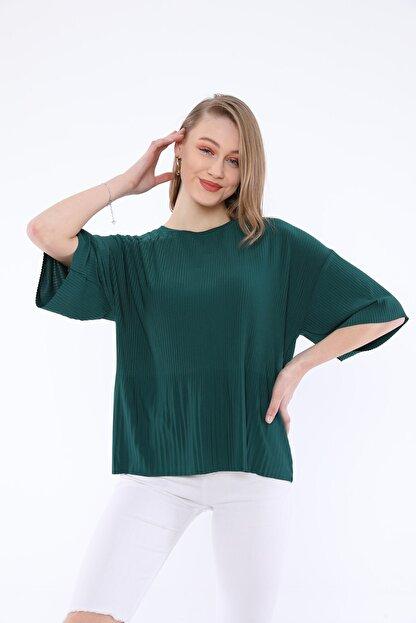 Tiefti Kadın Yeşil Fitilli Kısa Kol  Bluz