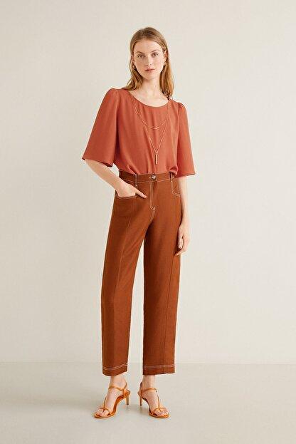Mango Kadın Kızıl Kahverengi Yakalı Bluz 43085784