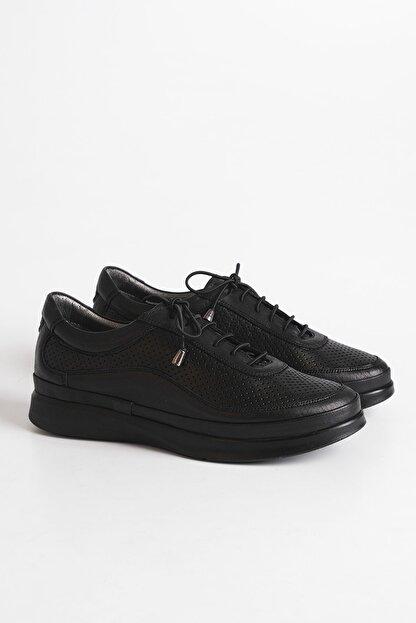 Marjin Kadın Siyah Hakiki Deri Comfort Ayakkabı Amaso