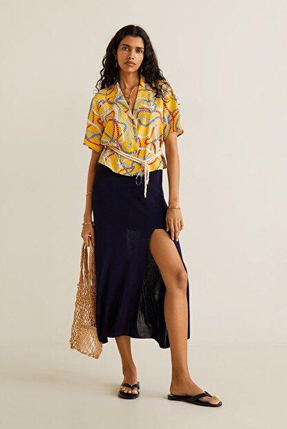 Mango Kadın Sarı Şal Desenli Gömlek 41069081