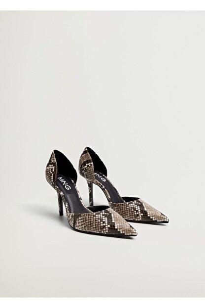 Mango Kadın Kahverengi Yılan Derisi Desenli Topuklu Ayakkabı