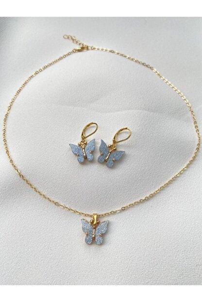 ms merijewelry Kadın Mavi Simli Kelebek Kolye ve Küpe Set