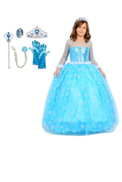 BUTİKHAPPYKİDS Kız Çocuk Mavi Simli Elsa  Uzun Kollu Tarlatanlı Elsa Kostümü 6lı Set