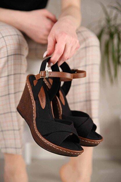 Ccway Kadın Siyah Keten Çapraz Bantlı Dolgu Topuklu Sandalet