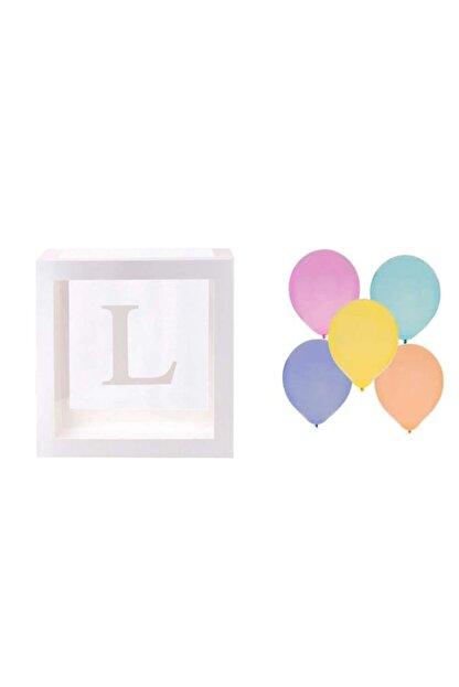 Patladı Gitti Şeffaf L Harfli Beyaz Kutu Ve Balon Seti Kendin Yap Bebek Çocuk Doğum Günü Süsleme
