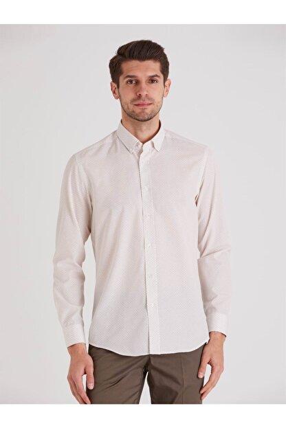 Dufy Bej Desenli Pamuklu Polyester Erkek Gömlek - Slım Fıt
