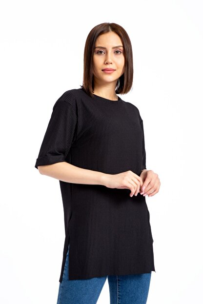 GİYSA Boyfriend Kaşkorse Siyah T-shirt 3683