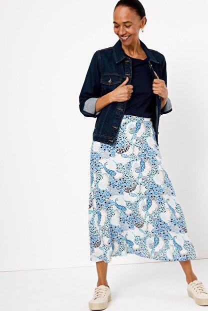 Marks & Spencer Kadın Mavi Çiçek Desenli Midi Etek T42001033