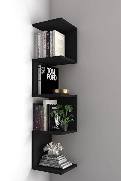 dekoronya Ivy Dekoratif Zig Zag Köşe Duvar Rafı / Kitaplık Siyah