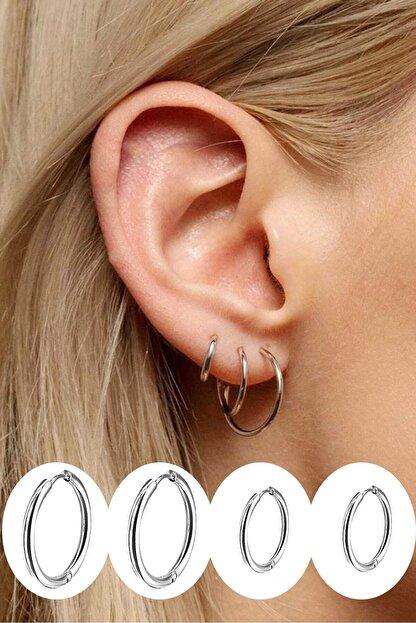 Salyangoz Company Cerrahi Çelik Halka Küpe 4 Adet Kadın Gümüş Renk