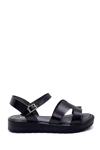 Derimod Kadın Siyah Deri Sandalet