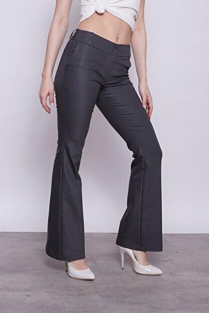 Jument Kadın Antrasit Kalın Kemerli Cepli Ispanyol Bol Paça Likralı Kumaş Pantolon