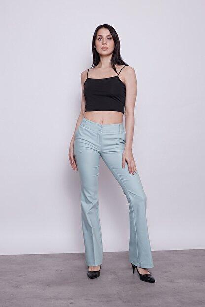 Jument Kadın Mint Kalın Kemerli Cepli Ispanyol Bol Paça Likralı Kumaş Pantolon