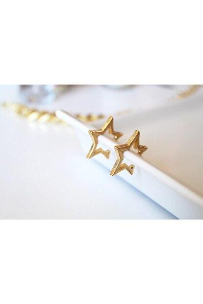 Cherybiju Gold Yıldız Sıkıştırmalı Kıkırdak Küpe [adet]