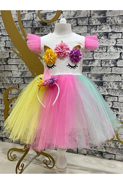 Pumpido Kız Çocuk Unıcorn Simli Tütülü Rengarenk Parti-doğum Günü Prenses Elbisesi