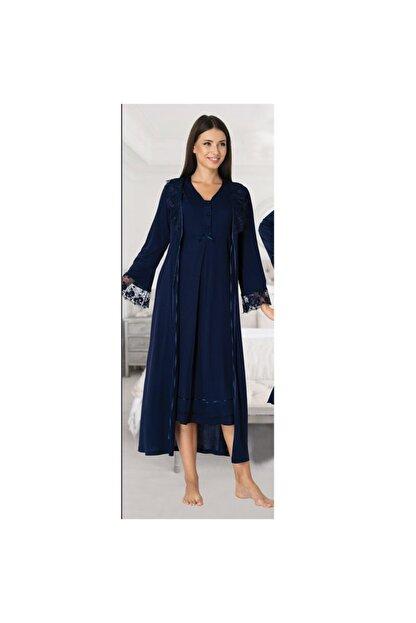 Effort Pijama Kadın Lacivert Kol Dantel Detaylı Lohusa Sabahlık