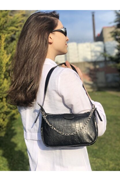 Esila&Sirius Kadın Siyah Kroko Desenli Ince Zincirli Baget Baguette Çanta