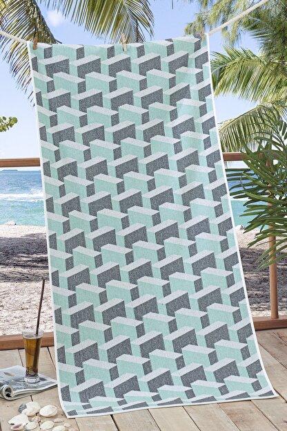 Nilly Home 3d Ipliği Boyalı Plaj Havlusu Edificia - 70*145 Mint