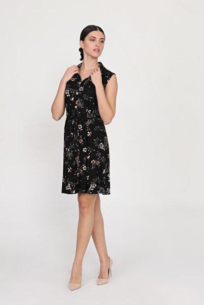 Ceylen Kadın Siyah Önden Düğmeli Desenli Elbise