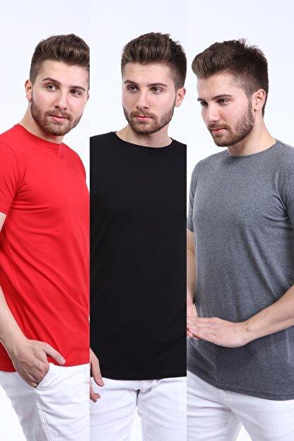 İng drop Erkek Çok Renkli 3'lü Paket Basic Slim Fit T-shirt