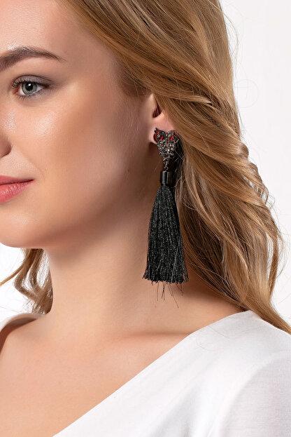 Modex Kadın Baykuş Figürlü Siyah Püskül Küpe UKP9506