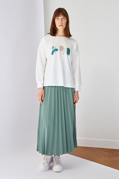 Trendyol Modest Yeşil Baskılı Bluz Etek Alt-Üst Takım TCTSS21AU0280