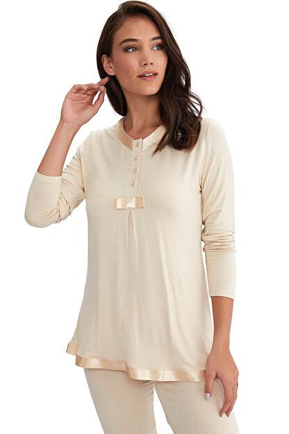 AYYILDIZ Kadın Bej Saten Biyeli Pijama Takımı 4961 / 59468
