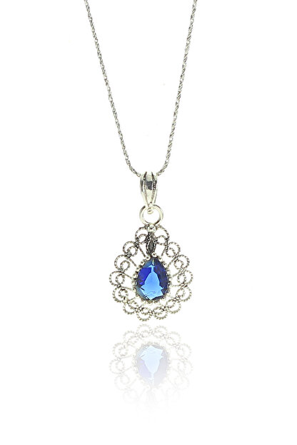 Söğütlü Silver Kadın Gümüş Telkari Modeli Safir Taşlı Damla Kolye SGTL9120