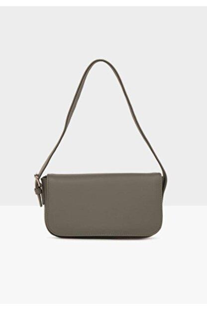 bag&more Kadın Gri Kapaklı Baget Çanta