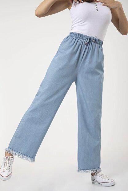 MD trend Kadın Mavi Bel Lastikli Bol Paça Rahat Kalıp Jean Kot Pantolon