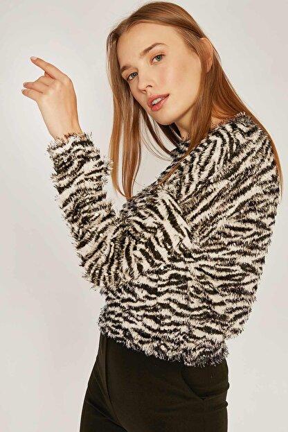 Pattaya Kadın Zebra Desen Sweatshirt F209