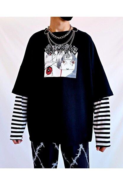 twentyone Kadın Siyah Anime Çizgili Kol Oversize Sweatshirt