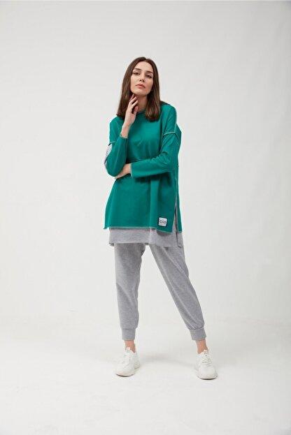 oia Yeşil Pamuklu Tunik Pantolon Takım Eşofman Takım