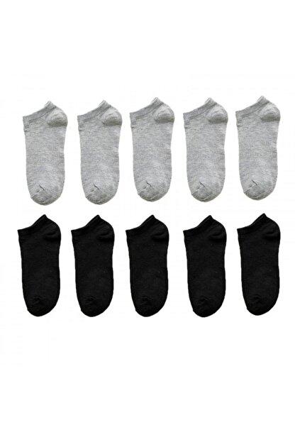 BGK Unisex 10 Çift Siyah + Gri Renk Patik Çorap