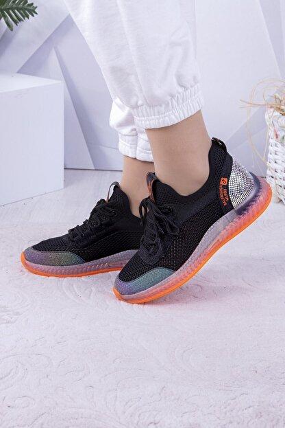 Guja Kadın Siyah Taşlı Fileli Spor Ayakkabı