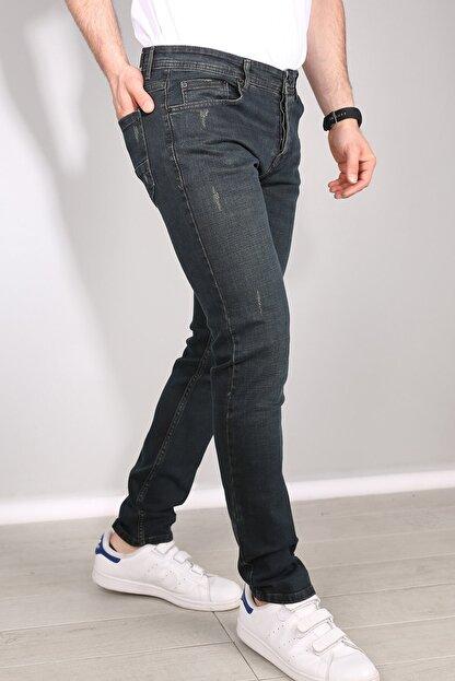 Delpino Erkek Gri Slimfit Likralı Kot Pantolon