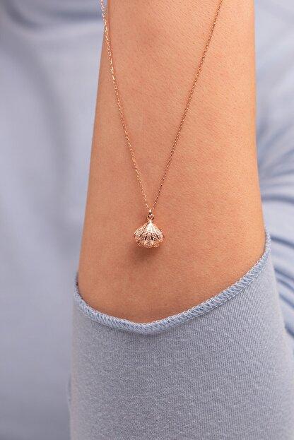 Mode Silver Saklı Inci Rose Gold Gümüş Kolye