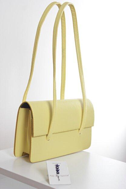 Loventa Loxxa Iki Saplı Sarı Kadın Baguette Çanta