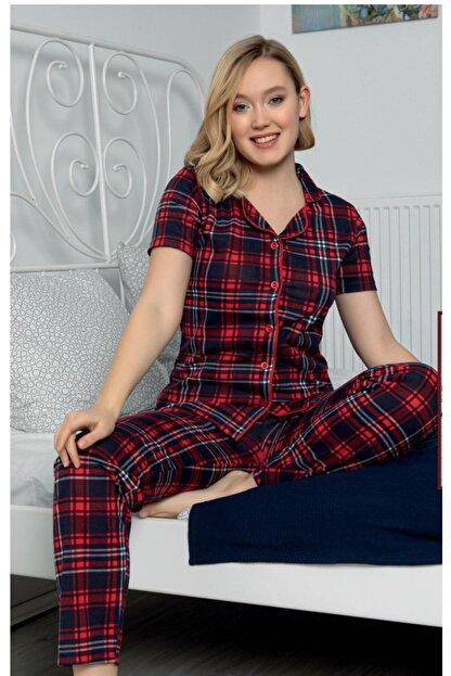 Sevil Giyim Kadın Kırmızı Ekoseli Örme Pijama Takım