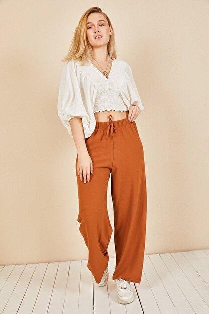 Moda Bu Kadın Kiremit Beli Lastikli Bol Paça Salaş Yazlık Pantolon