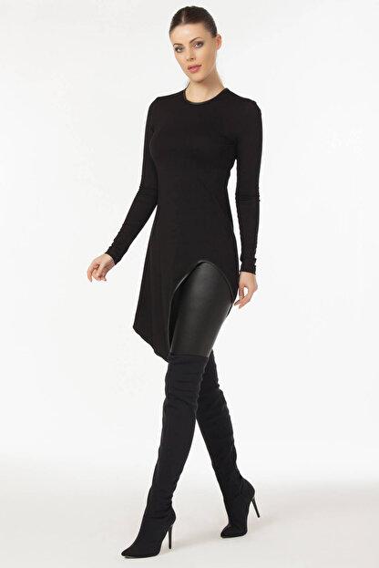 Laranor Kadın Siyah Asimetrik Kesim Bluz 19L6490